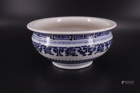 中国 - 碗/盘 - 古风图案 - 影青色