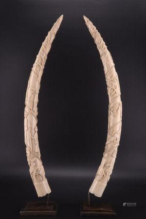 刚果 - 象牙雕刻对杯 - 卢安果 - XIX