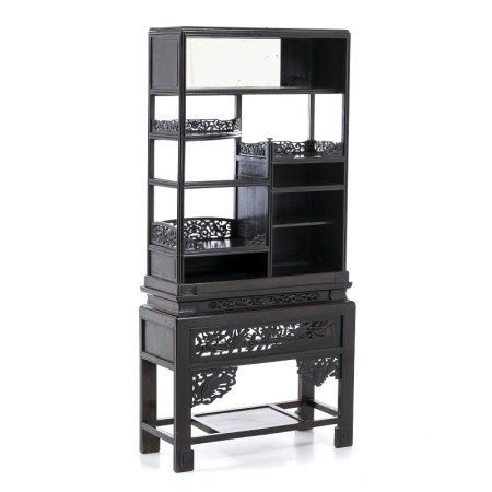 Two-module Chinese hongmu bookcase