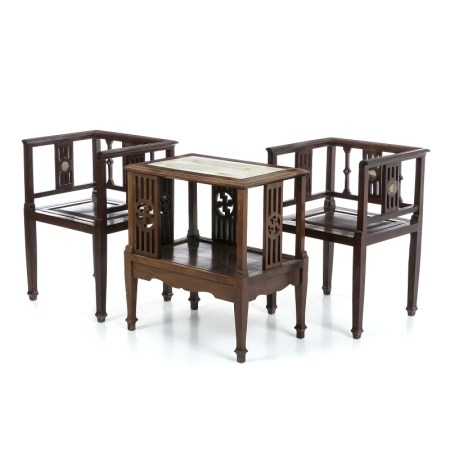 Pair of armchairs with table, Minguo