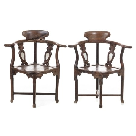 Pair of chairs with curved arms, Minguo