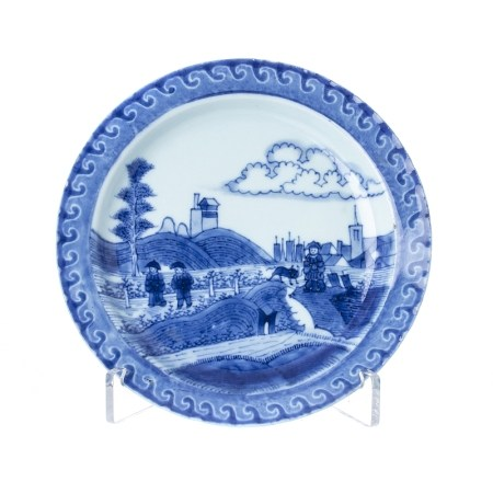 'Landscape with Peasants' plate in Chinese porcelain, Kangxi.
