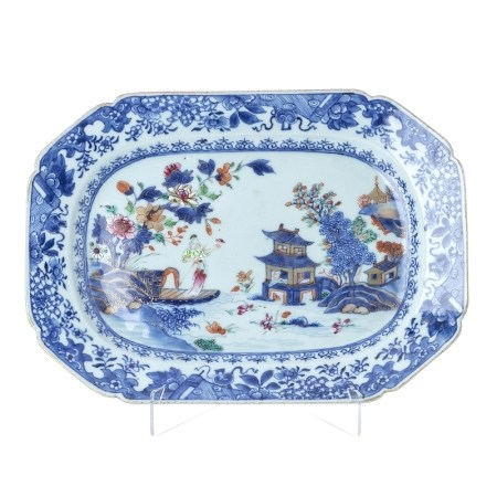 Cantonese porcelain platter with figure