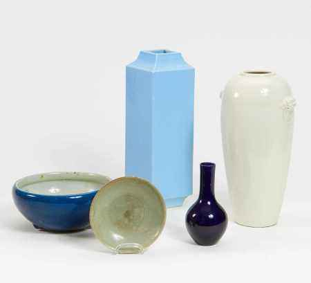 THREE VASES AND TWO BOWLS.