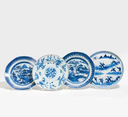 FOUR BLUE AND WHITE DISHES.