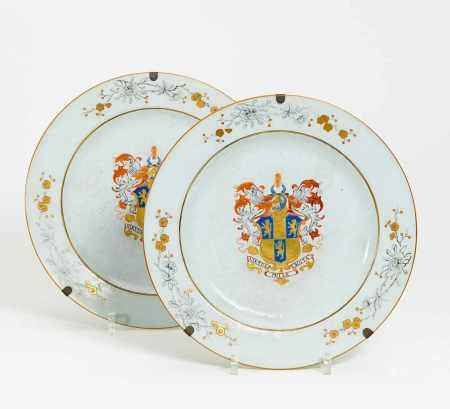 TWO LARGE PLATES WITH LION BLAZONS.
