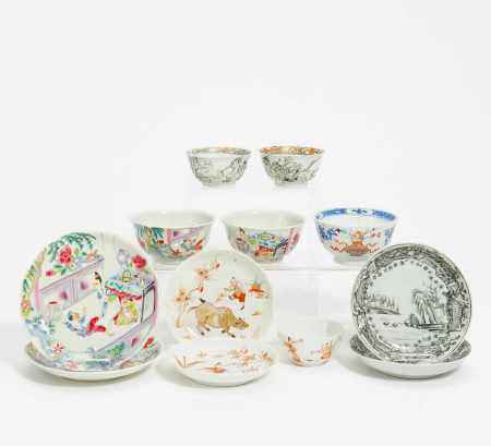 LOT OF SIX SAUCERS AND SIX CUPS WITH FIGURAL PATTERNS.