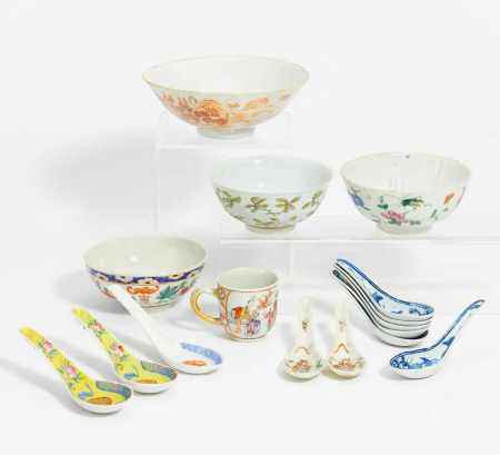 SMALL CUP AND FOUR BOWLS.