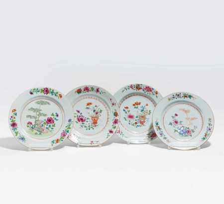 FOUR DISHES EXPORT PORCELAIN WITH FLOWERS AND BAMBOO.