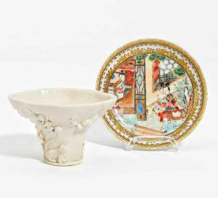 CUP WITH DRAGON, TIGER, DEER AND SAUCER WITH LADIES.