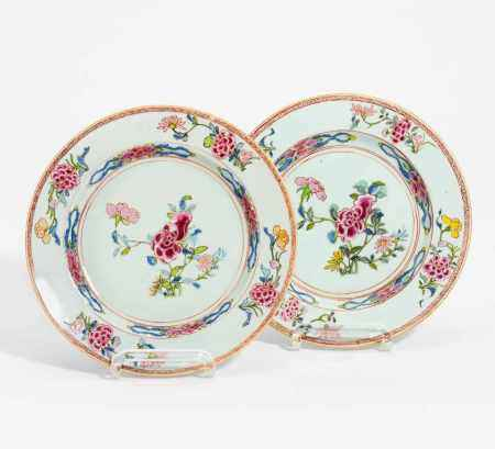 PAIR DISHES WITH PEONIES.