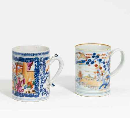 TWO MUGS WITH FIGURAL AND LANDSCAPE DESIGN.