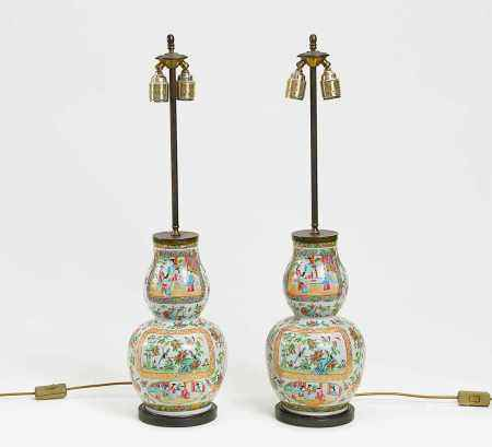 PAIR OF VASES MOUNTED AS LAMPS.