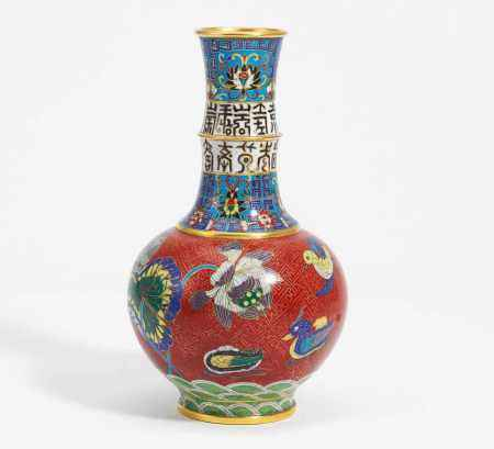 VASE WITH LOTOS AND CHARACTERS OF LONGEVITY.