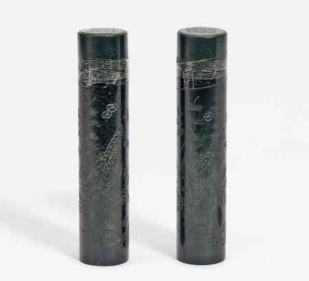 PAIR OF CYLINDRIC BOXES.
