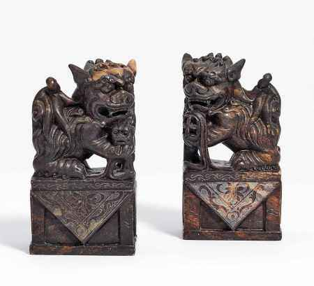 PAIR OF SHIZI LIONS ON BASES.