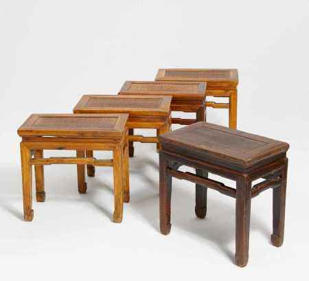 FIVE SMALL STOOLS.