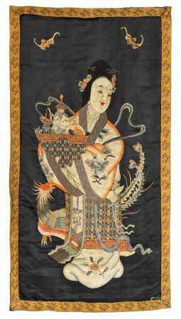 EMBROIDERY OF XI WANGMU AND THE FENG HUANG BIRD.