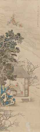 HANGING SCROLL WITH THE HEAVENLY EMPEROR AND ENTOURAGE.
