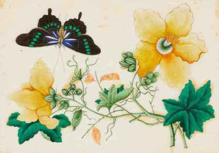 THREE PAINTINGS WITH FLOWERS AND BUTTERFLIES.