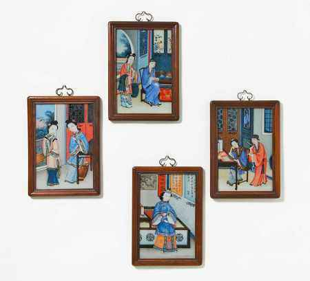 FOUR REVERSE GLASS PAINTINGS WITH BEAUTIES.