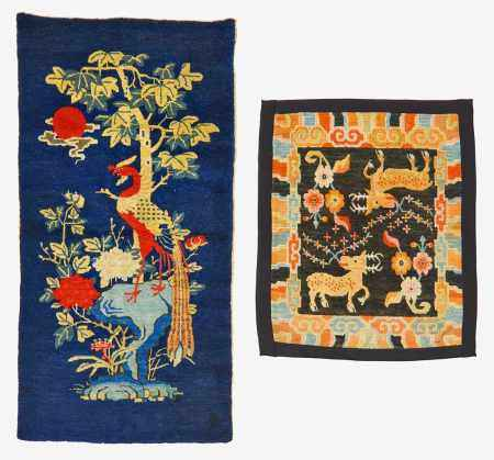 SADDLE CLOTH WITH DEER AND FLOWER TWIGS.