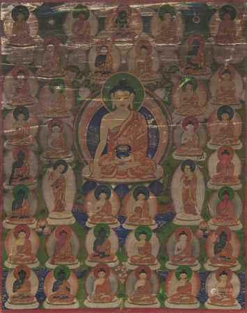 THANGKA WITH SHAKYAMUNI AND THE 35 CONFESSION BUDDHA.