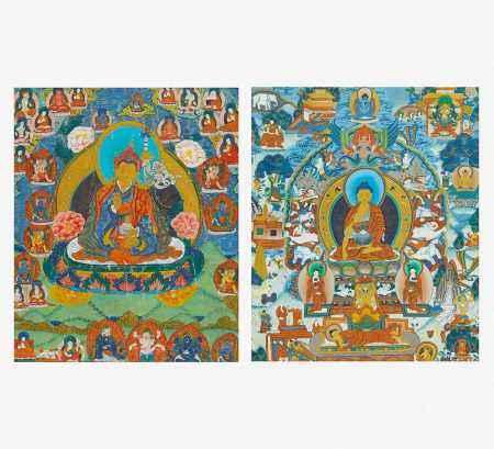 TWO THANGKA OF PADMASAMBHAVA AND THE LIFE OF BUDDHA.