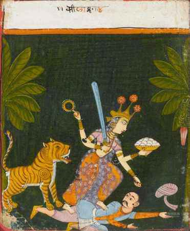 TWO PAINTINGS OF THE DIETY DURGA.