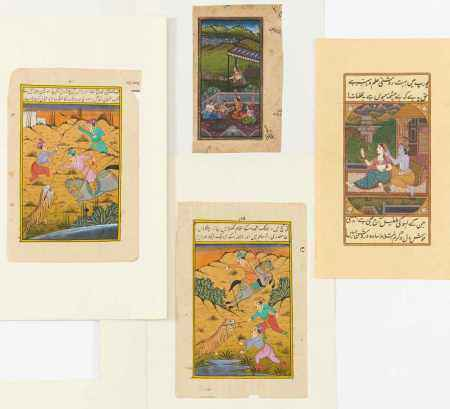 FOUR MINIATURE PAINTINGS WITH GODS, HUMAN AND ANIMALS.