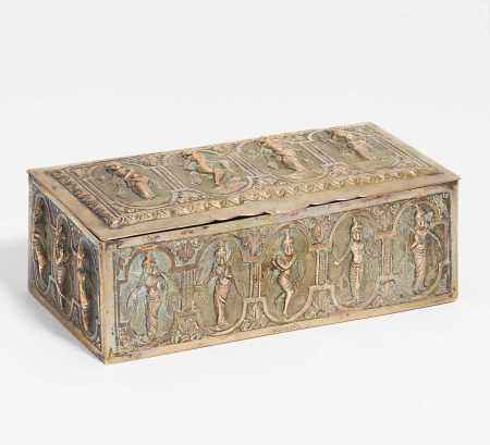 LIDED BOX WITH DANCING BEAUTIES.