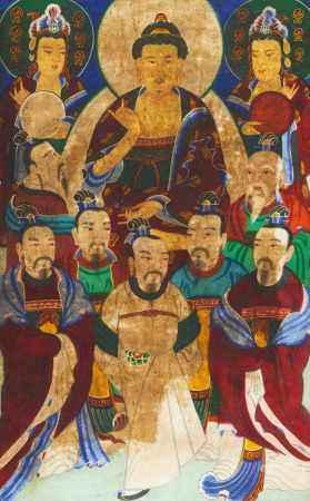 BUDDHA SHAKYAMUNI ESCORTED BY BODHISATTVA AND DIGNITARIES.