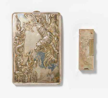 CIGARETTE CASE WITH DRAGON AND TIGER.
