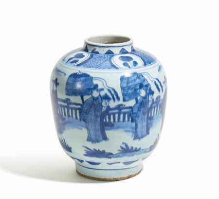 EARLY OVOID JAR WITH DECORATION IN CHINESE STYLE.