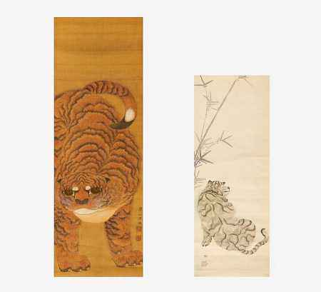 TWO PAINTINGS WITH TIGER.