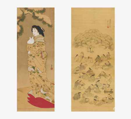 HUNDRED OKAME AND OIRAN WITH SNOW HARE.