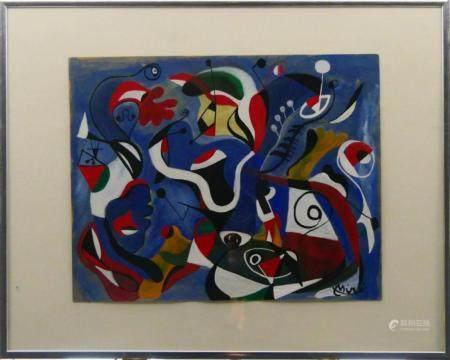JOAN MIRO (SPAIN 1893-1983) GOUACHE WORK ON PAPER