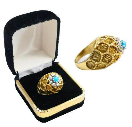 ESTATE 14KT Y GOLD DIAMOND & TURQUOISE LADIES RING