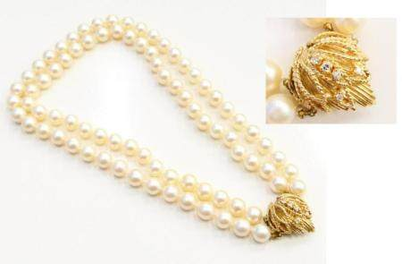 MIKIMOTO LARGE DOUBLE STRAND PEARL NECKLACE GOLD