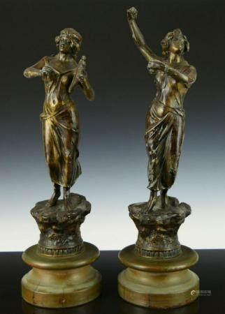 PAIR OF ANTIQUE FRENCH SPELTER NOUVEAU DANCERS