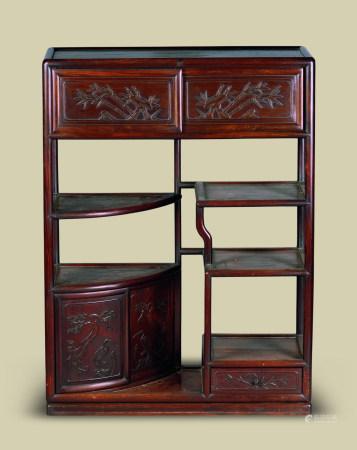清代(1644-1911) 红木花鸟纹博古柜