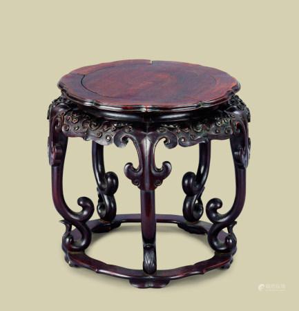 清代(1644-1911) 红木如意云纹五足花台