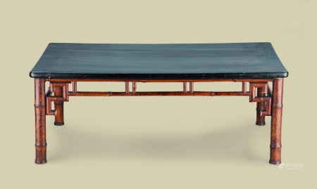 清代(1644-1911) 黑漆面斑竹长方台