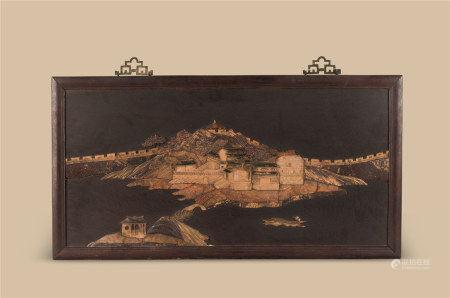 清代(1644-1911) 木嵌寿山石亭台楼阁纹挂屏