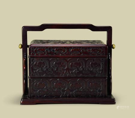 清代(1644-1911) 紫檀夔龙纹长方提梁盒