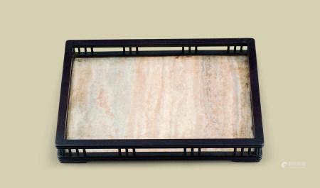 清代(1644-1911) 紫檀嵌大理石茶盘