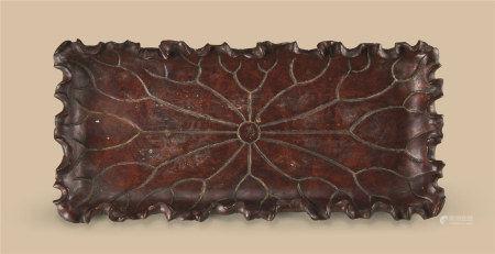 瘿木雕荷叶纹长方茶盘