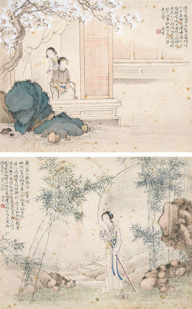 潘达(1913~1973)  仕女 (二幅) 镜心 设色纸本