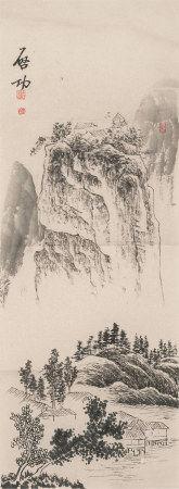 启功(1912~2005)  山水 镜心 水墨纸本
