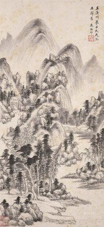 朱梅邨(b.1911)  山水 立轴 水墨纸本